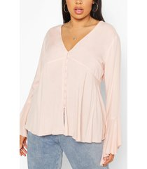 plus button detail plunge flare sleeve blouse, stone