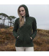 women's army green kinsale aran hoodie cardigan xxl