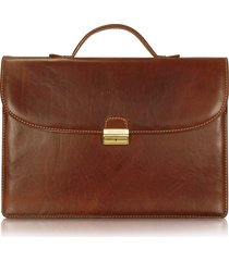 chiarugi designer travel bags, men's handmade brown leather single gusset briefcase