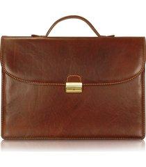 chiarugi designer travel bags, men's handmade brown leather single gusset briefcase