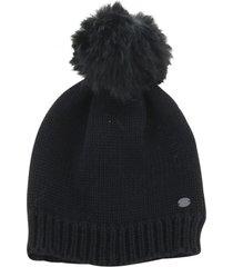 gorro lana mujer chunk knit pom pom beanie negro cat