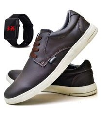 tênis sapatênis casual fashion com relógio led masculino dubuy 1401el marrom