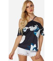 blusas con tirantes elásticos y estampado floral con hombros descubiertos y medias mangas negras