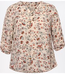 maurices plus size womens floral double button blouse pink