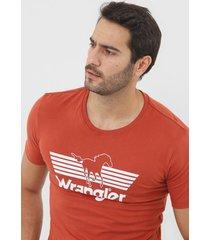 camiseta wrangler lettering laranja - kanui