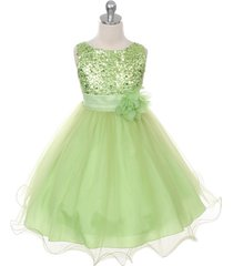 lime green sequined bodice flower girl dress birthday pageant bridesmaid wedding