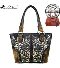 montana west embroidered boot scroll concho concealed handgun ccw tote handbag