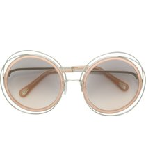 chloé eyewear round framed sunglasses - neutrals