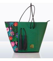 cartera tote andrea ruiz leather goods flowers 1bflo-0116 verde