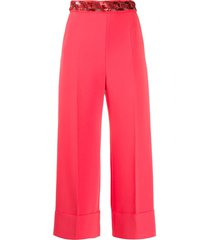 elisabetta franchi sequin embroidered pleated detail trousers - pink