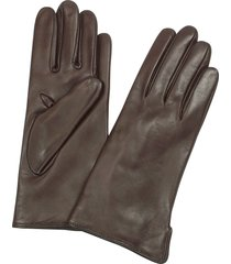 forzieri designer women's gloves, women's dark brown cashmere lined italian leather gloves