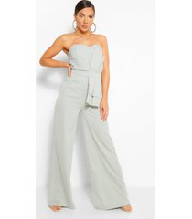 strapless jumpsuit met oversized strik, green
