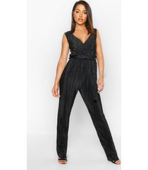 plisse plunge jumpsuit, black