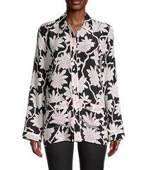floral silk pajama-style shirt