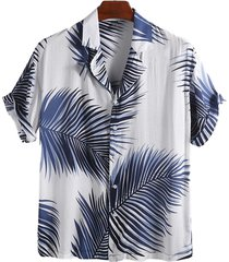 incerun hombres estampado tropical hawaiano soft transpirable suelto casual camisa