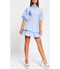 river island womens blue puff sleeve shirt mini dress