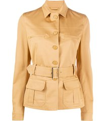alberta ferretti belted single-breasted jacket - neutrals