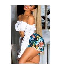 trendy zomer hoge taille-shorts met print marineblauw