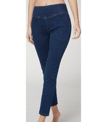 calzedonia skinny thermal denim leggings woman blue size xl