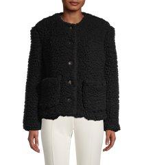 mansur gavriel women's cashmere & silk teddy jacket - black - size 42 (6)