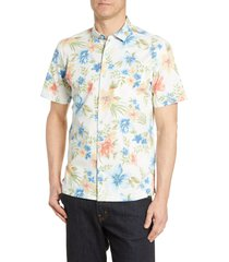tori richard flower wall print short sleeve button-up shirt, size xx-large in white at nordstrom