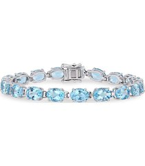 sonatina women's sterling silver & sky blue topaz tennis bracelet - silver