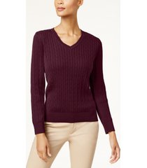 karen scott petite cotton cable-knit sweater, created for macy's
