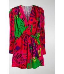 balenciaga doodle-print gathered dress