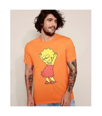 camiseta masculina lisa simpson dançando manga curta gola careca laranja