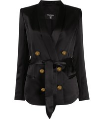 balmain double-breasted silk blazer - black