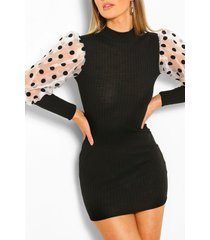 knitted rib dress with organza flock sleeve, black