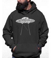 men's flying saucer ufo word art hooded sweatshirt