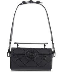 balmain designer handbags, black leather & suede bbuzz baguette 19 shoulder bag