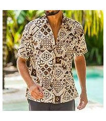 men's cotton batik shirt, 'island kaleidoscope' (indonesia)