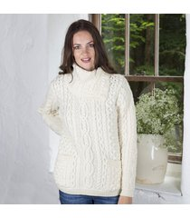 cowl neck button sweater cream small
