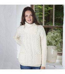 cowl neck button sweater cream small