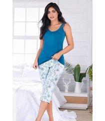 pijama mujer conjunto capri blusa tiras 11547
