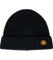 kenzo knit tiger patched beanie