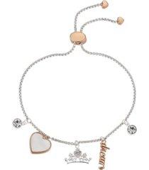 "disney two-tone ""dream"" princess cubic zirconia charm bolo bracelet"
