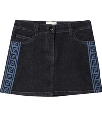 fendi denim skirt with logo side bands