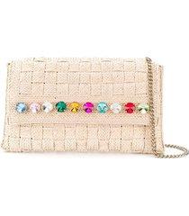 casadei rhinestone-embellished woven shoulder bag - neutrals