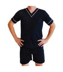 pijama masculino verão short e blusa marlu confecções azul marinho
