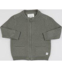 jaqueta infantil em tricô com zíper cinza