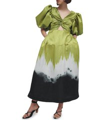 aje women's arcadian knot dress - ombre ink green - size 4