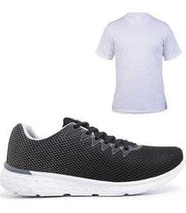 tênis simon vergan degradê masculino + camiseta gg - cinza - 34 - masculino