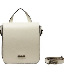 bolsa transversal em couro recuo fashion bag cru/bege