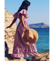 pink city prints susie long dress pink stripe