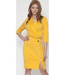 vestido office design y botones amarillo 609seisceronueve