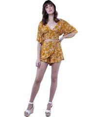 shorts pareô floral babado pop me feminino
