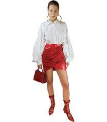 sara battaglia red lurex & faux patent leather mini skirt